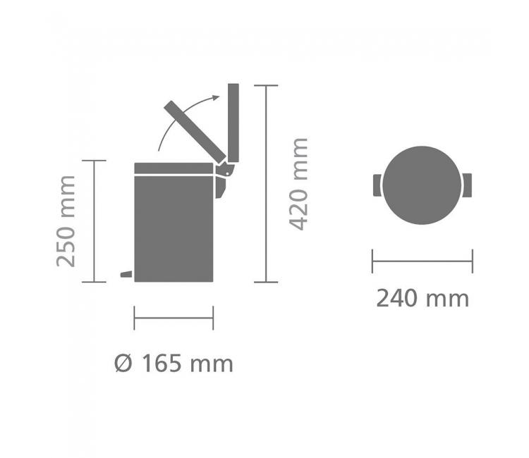Бак для мусора Pedal Bin Brabantia, объем 3 л, бежевый Brabantia 395420 фото 5