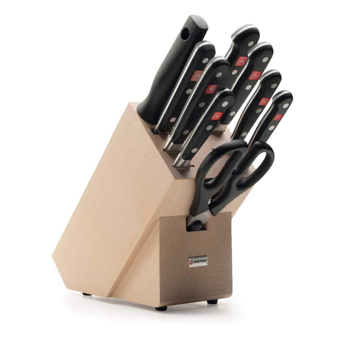 Онлайн каталог PROMENU: Набор ножей с блоком Wuesthof Classic, светло-коричневый, 10 предметов Wuesthof 9842