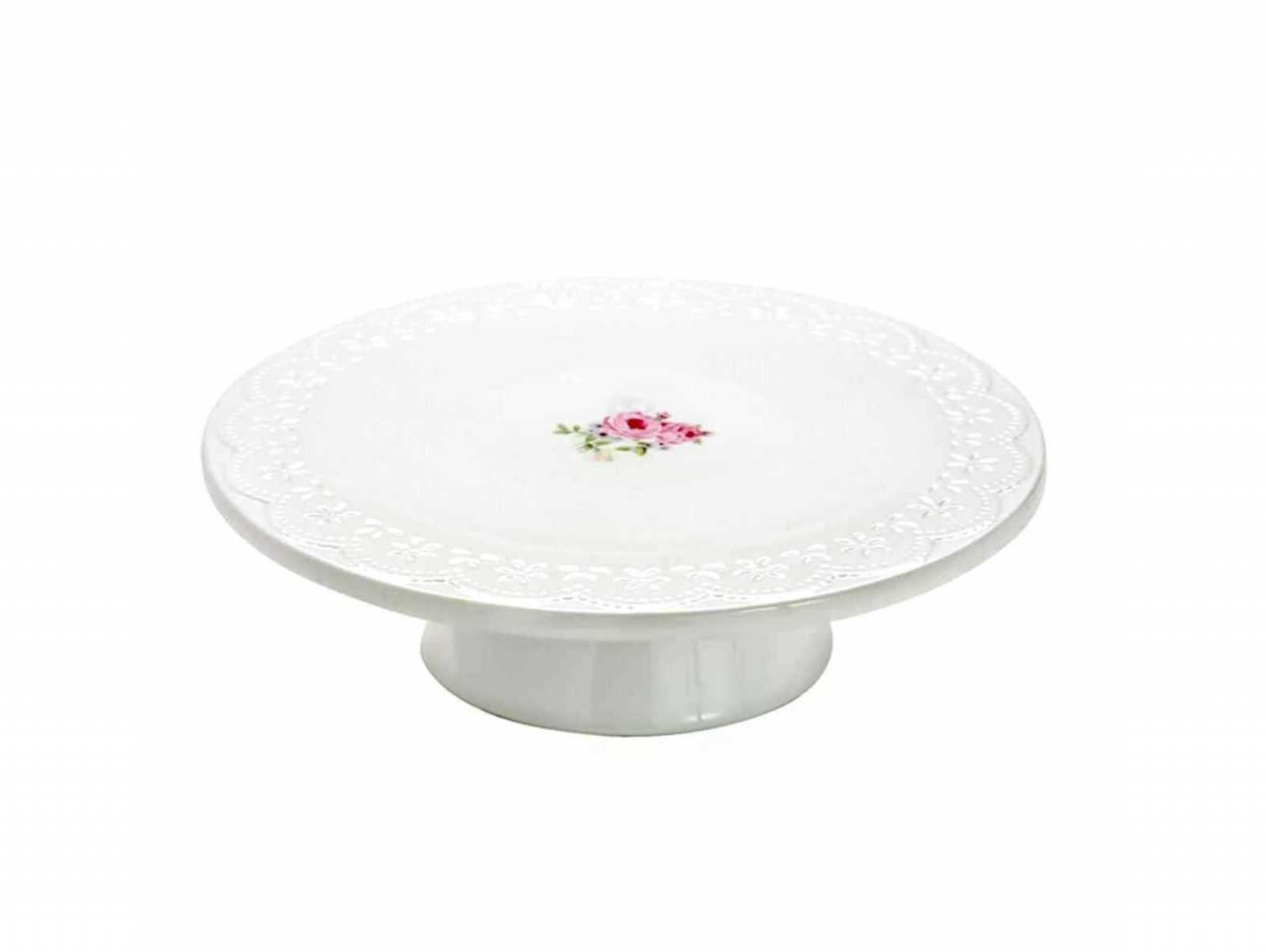 Онлайн каталог PROMENU: Блюдо для торта Nuova R2S BELLE MAISON, диаметр 26 см, белый с розами Nuova R2S 1027 RSE