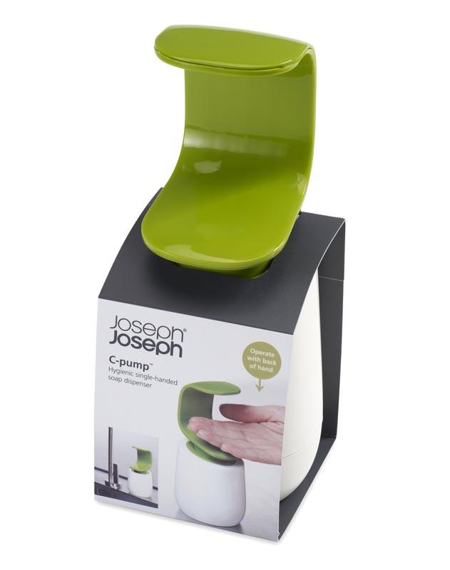 Диспенсер для жидкого мыла Joseph Joseph C-PUMP, 8,5х8,5х19 см, объем 0,3 л, зеленый с белым Joseph Joseph 85053 фото 3