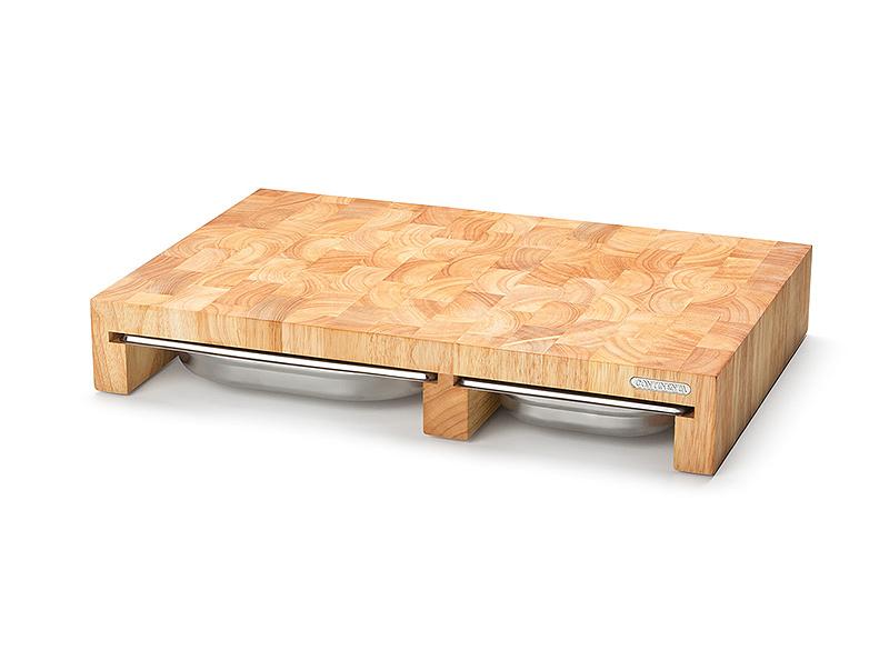 Доска деревянная разделочная с металлическими вставками Continenta, 50х32,5х8 см, бежевый Continenta 4028 фото 3