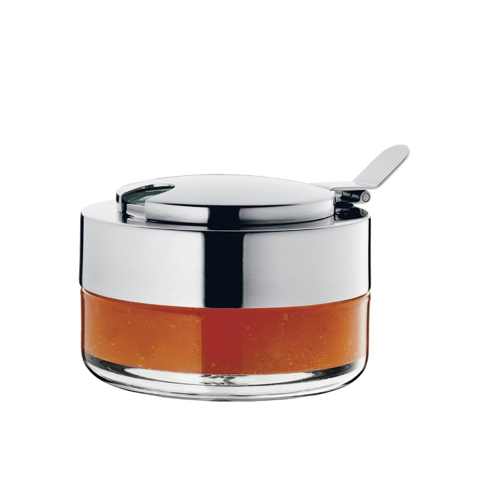 Емкость для варенья/меда WMF Kult, диаметр 10 см, высота 7 см, прозрачный с серебристым WMF 06 2591 6030 фото 1
