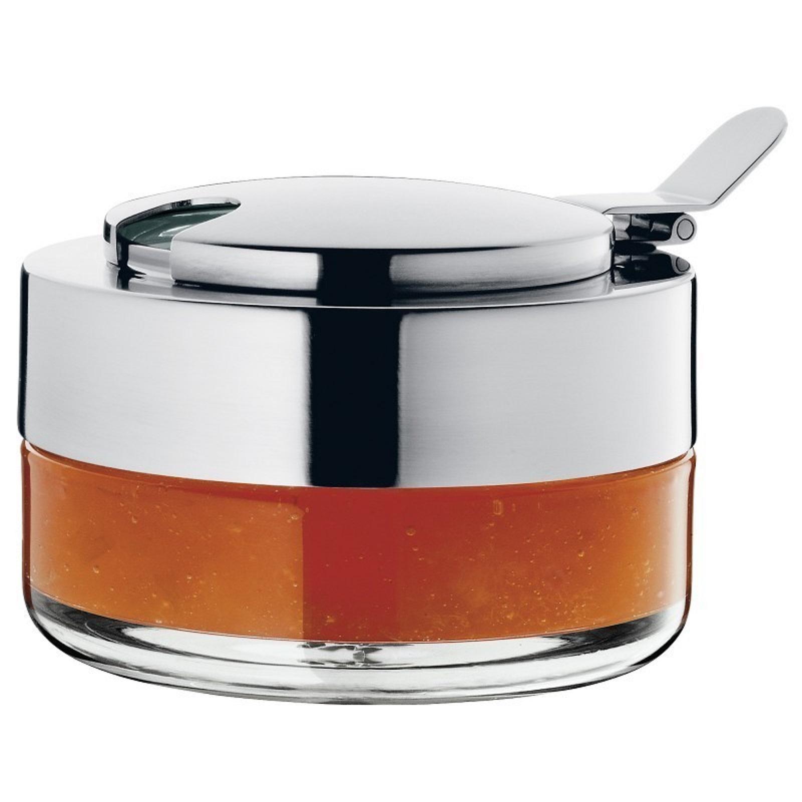 Онлайн каталог PROMENU: Емкость для варенья/меда WMF Kult, диаметр 10 см, высота 7 см, прозрачный с серебристым WMF 06 2591 6030