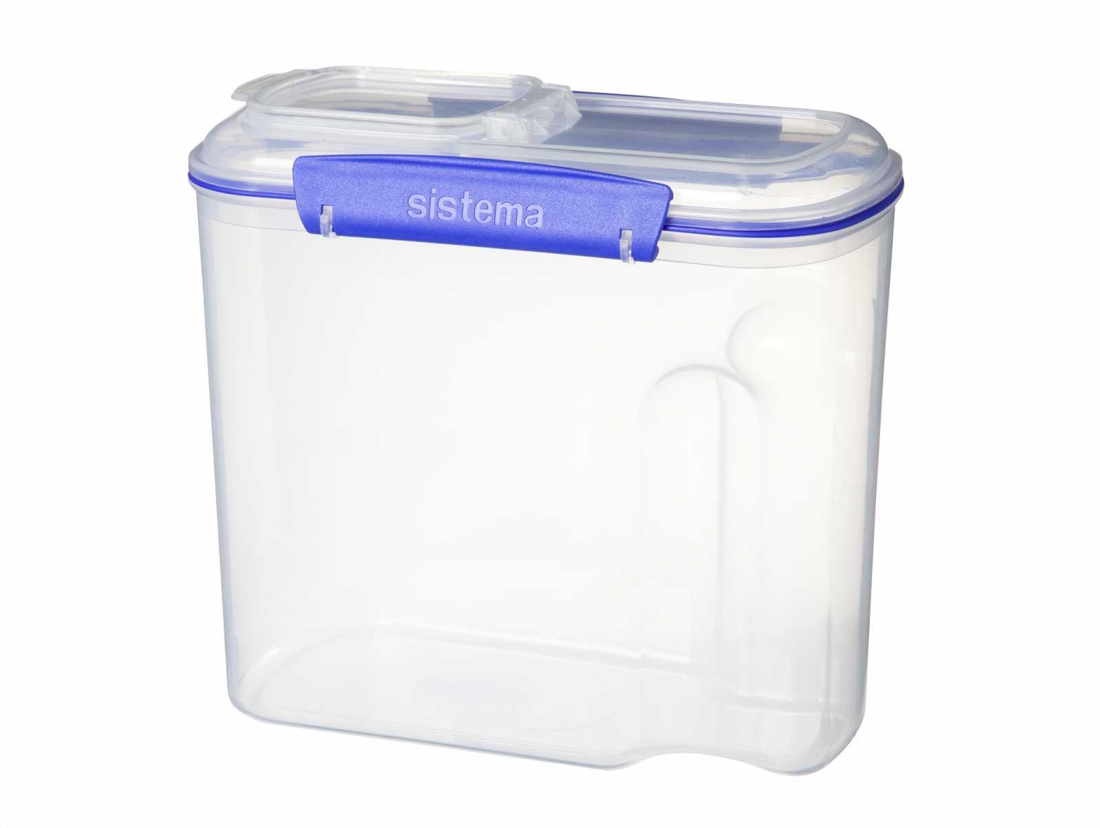 Онлайн каталог PROMENU: Емкость с крышкой для хранения Sistema KLIP IT, объем 2,8 л, прозрачный с синим Sistema 1430
