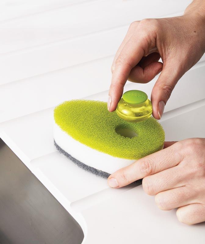 Губка с капсулой для жидкого мыла Joseph Joseph soapy sponge, 12x7x4,5 см, зеленый Joseph Joseph 85072 фото 2