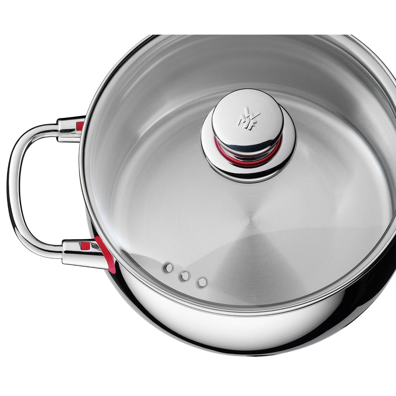 Кастрюля низкая с крышкой WMF Quality One, диаметр 20 см, объем 3,3 л, серебристый с красным WMF 07 7420 6380 фото 1