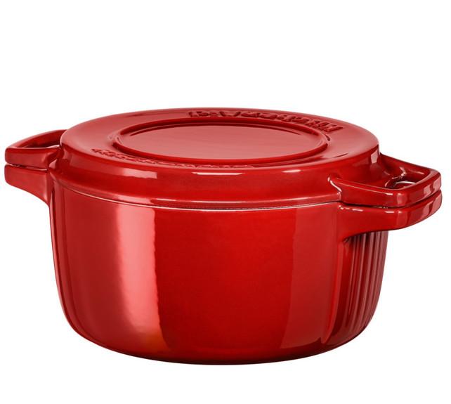 Онлайн каталог PROMENU: Кастрюля с крышкой KitchenAid Cast Iron, диаметр 24 см, красный KitchenAid KCPI40CRER