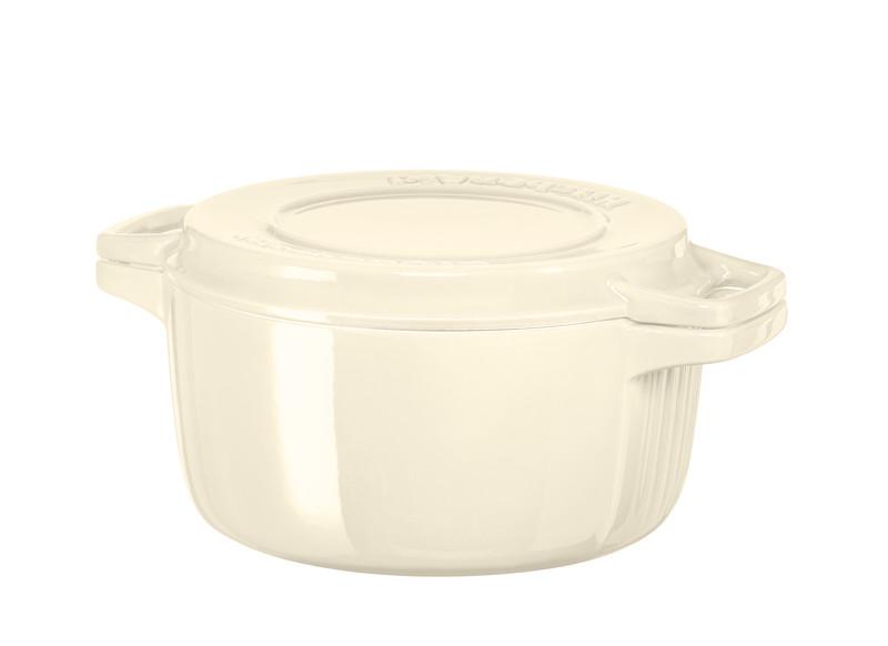 Онлайн каталог PROMENU: Кастрюля с крышкой-гриль чугунная KitchenAid Cast Iron, объем 3,8 л, диаметр 24 см, кремовый KitchenAid KCPI40CRAC