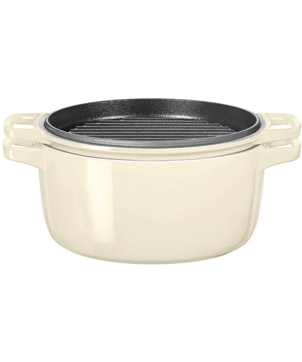 Кастрюля с крышкой-гриль чугунная KitchenAid Cast Iron, объем 3,8 л, диаметр 24 см, кремовый KitchenAid KCPI40CRAC фото 1