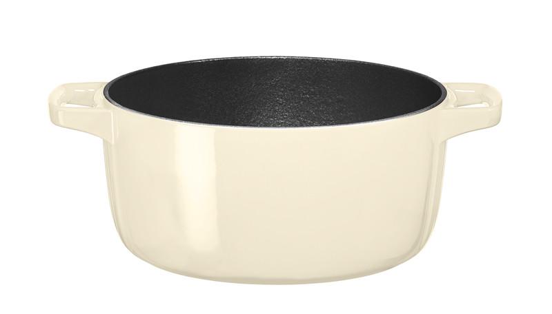Кастрюля с крышкой-гриль чугунная KitchenAid Cast Iron, объем 3,8 л, диаметр 24 см, кремовый KitchenAid KCPI40CRAC фото 2