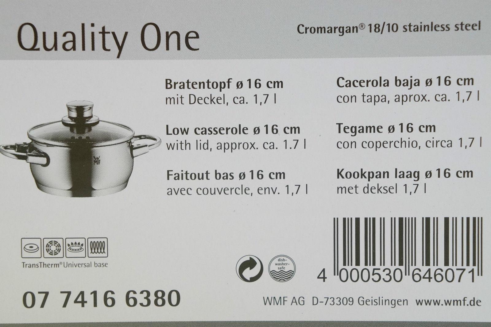 Кастрюля с крышкой низкая WMF Quality One, объем 1,7 л, диаметр 16 см, серебристый с красным WMF 07 7416 6380 фото 4