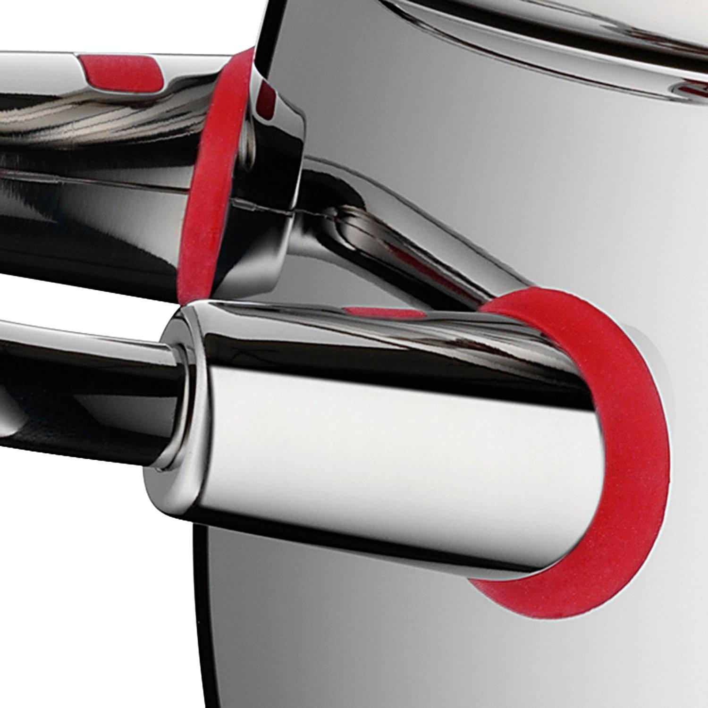 Кастрюля с крышкой высокая WMF QUALITY ONE, объем 2 л, диаметр 16 см, серебристый с красным WMF 07 7516 6380 фото 5