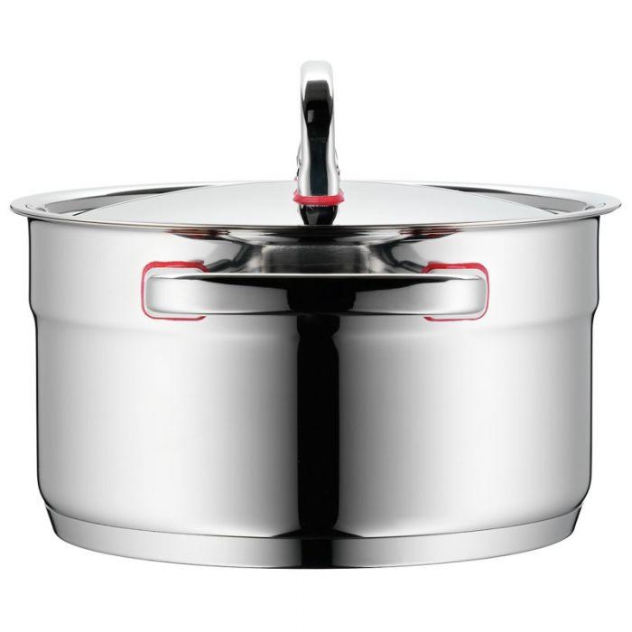 Кастрюля высокая с крышкой WMF PREMIUM ONE, диаметр 20 см, объем 3,3 л, серебристый с красным WMF 17 8920 6040 фото 3