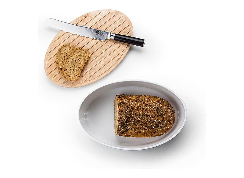 Хлебница керамическая с деревянной крышкой Continenta, 36x23x13,5 см, белый с бежевым Continenta 3932 фото 3