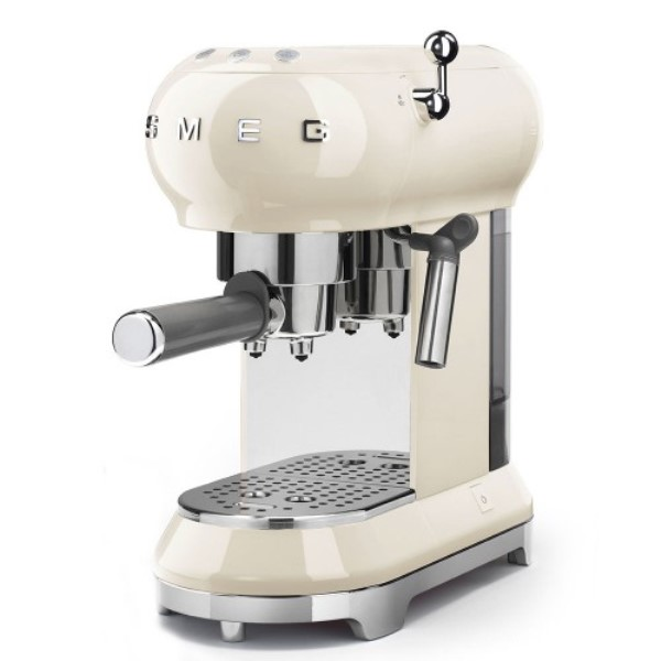Онлайн каталог PROMENU: Кофеварка эспрессо Smeg 50 Style, объем резервуара 1 л, кремовая                               ECF01CREU