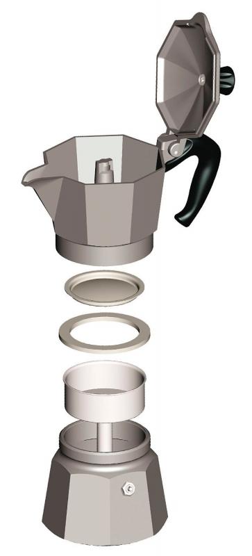 """Кофеварка гейзерная """"Moka"""" на 2 чашки Bialetti MOKA EXPRESS, серебристый Bialetti 0001168 фото 3"""