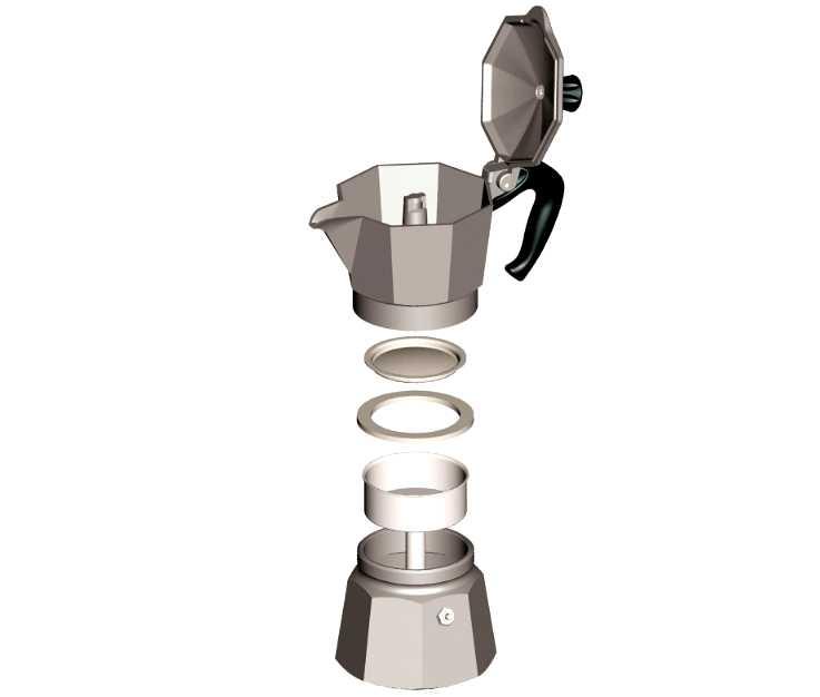 """Кофеварка гейзерная """"Moka express""""  на 3 чашки Bialetti MOKA EXPRESS, серебристый Bialetti 0001162 фото 2"""