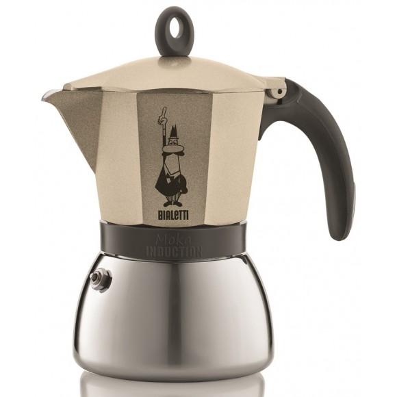 """Онлайн каталог PROMENU: Кофеварка гейзерная  """"Moka induction""""  на 6 чашек Bialetti MOKA INDUCTION, золотисто-бежевый Bialetti 0004833X4"""