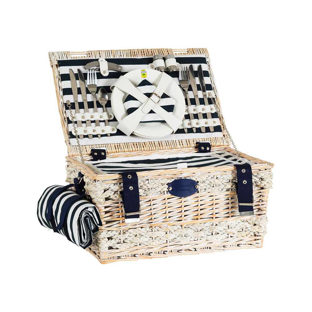 Онлайн каталог PROMENU: Корзина для пикника на 4 персоны Les Jardins de la Comtesse MARINE, 24х45х31 см, светло-бежевый                               P-1934B