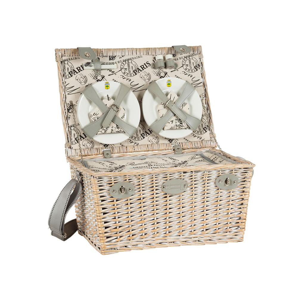 Онлайн каталог PROMENU: Корзина для пикника на 6 персон Les Jardins de la Comtesse PARIS, 26х51х35 см, бежево-серый                               P-1936A