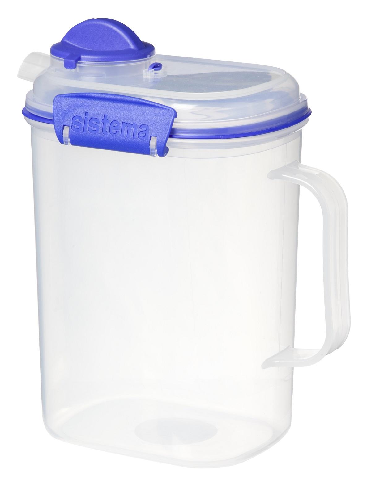 Онлайн каталог PROMENU: Кувшин пластиковый Sistema KLIP IT, объем 1,5 л, прозрачный с голубым Sistema 1415