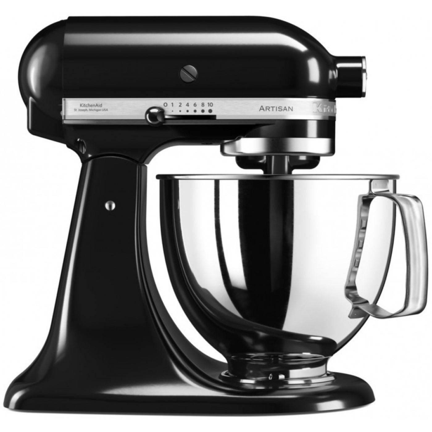 Онлайн каталог PROMENU: Миксер планетарный KitchenAid Artisan, объем чаши 4,83 л, черный                  KitchenAid 5KSM125EOB