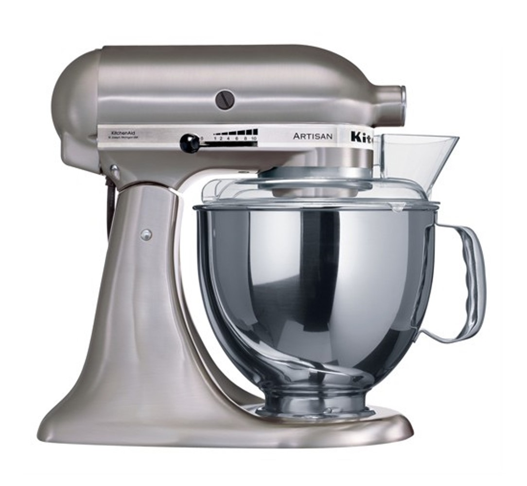 Онлайн каталог PROMENU: Миксер планетарный KitchenAid Artisan, объем чаши 4,83 л, матовый никель KitchenAid 5KSM150PSENK