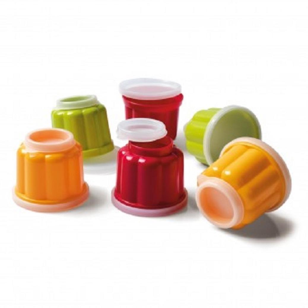Онлайн каталог PROMENU: Набор из 6 чашек для пудинга (диаметр 7,5 см) с двумя крышками Kaiser Backform PATISSERIE, разноцветный, 8 предметов                               23 0076 9622