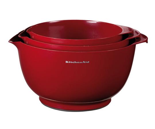 Онлайн каталог PROMENU: Набор чаш для смешивания KitchenAid GADGETS & UTENSILS, объем 2,3;3,3 и 4,2 л, красный, 3 штуки KitchenAid KG175ER