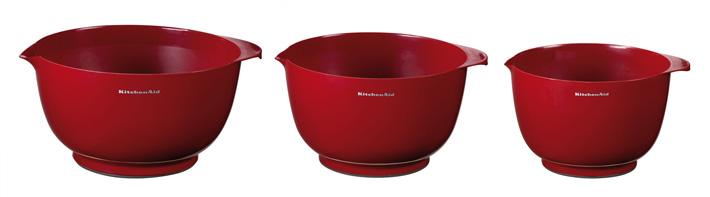 Набор чаш для смешивания KitchenAid GADGETS & UTENSILS, объем 2,3;3,3 и 4,2 л, красный, 3 штуки KitchenAid KG175ER фото 1