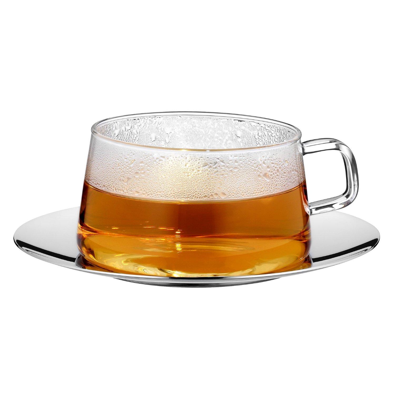 Набор чашка с блюдцем WMF TEA TIME, прозрачный с серебристым, 2 предмета WMF 06 3631 6040 фото 1