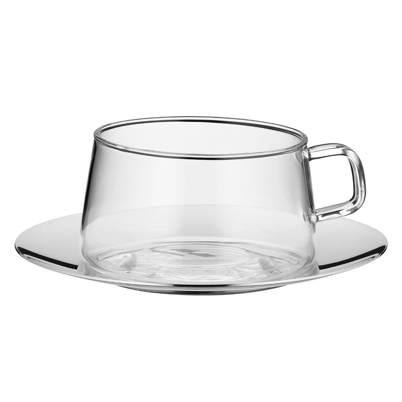 Онлайн каталог PROMENU: Набор чашка с блюдцем WMF TEA TIME, прозрачный с серебристым, 2 предмета WMF 06 3631 6040