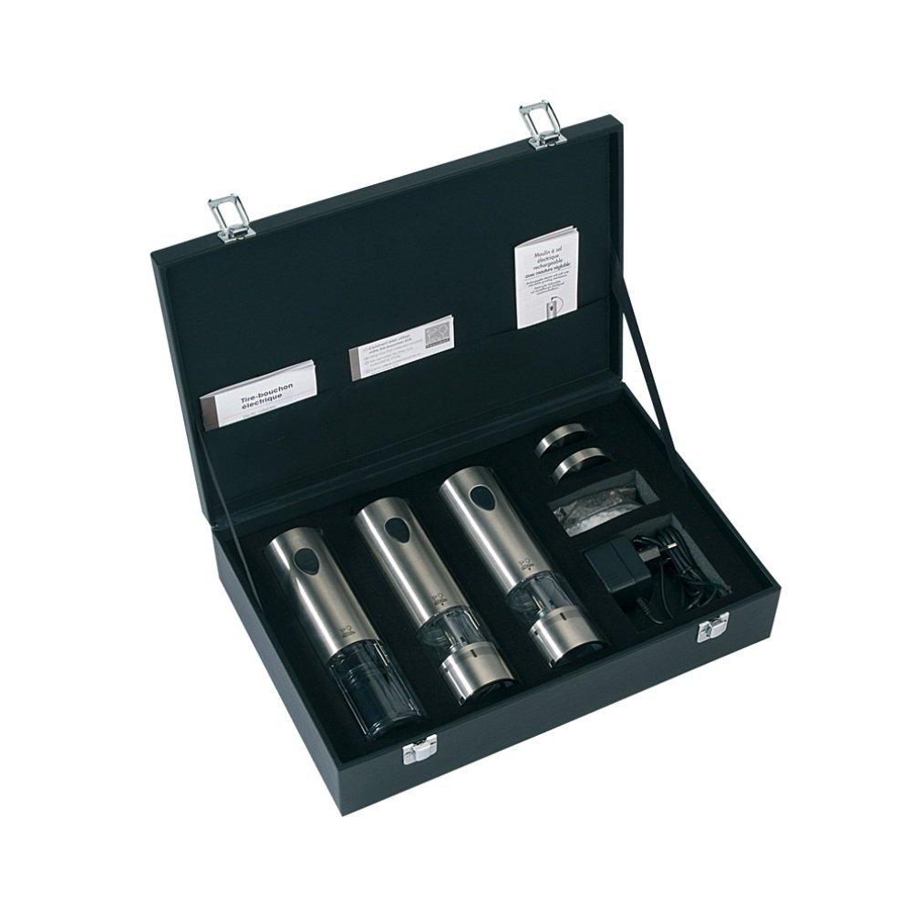 Онлайн каталог PROMENU: Набор электрических мельниц в подарочной упаковке: мельница для соли и перца, штопор и зарядное устройство Peugeot ELIS TRIO, серебристый                               24307