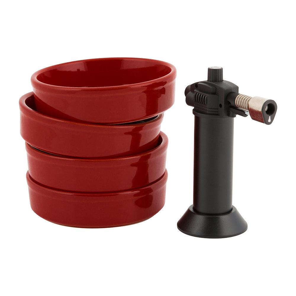 Онлайн каталог PROMENU: Набор из 4-х форм для крем-брюле с горелкой Emile Henry, красный, 5 предметов                                   349711
