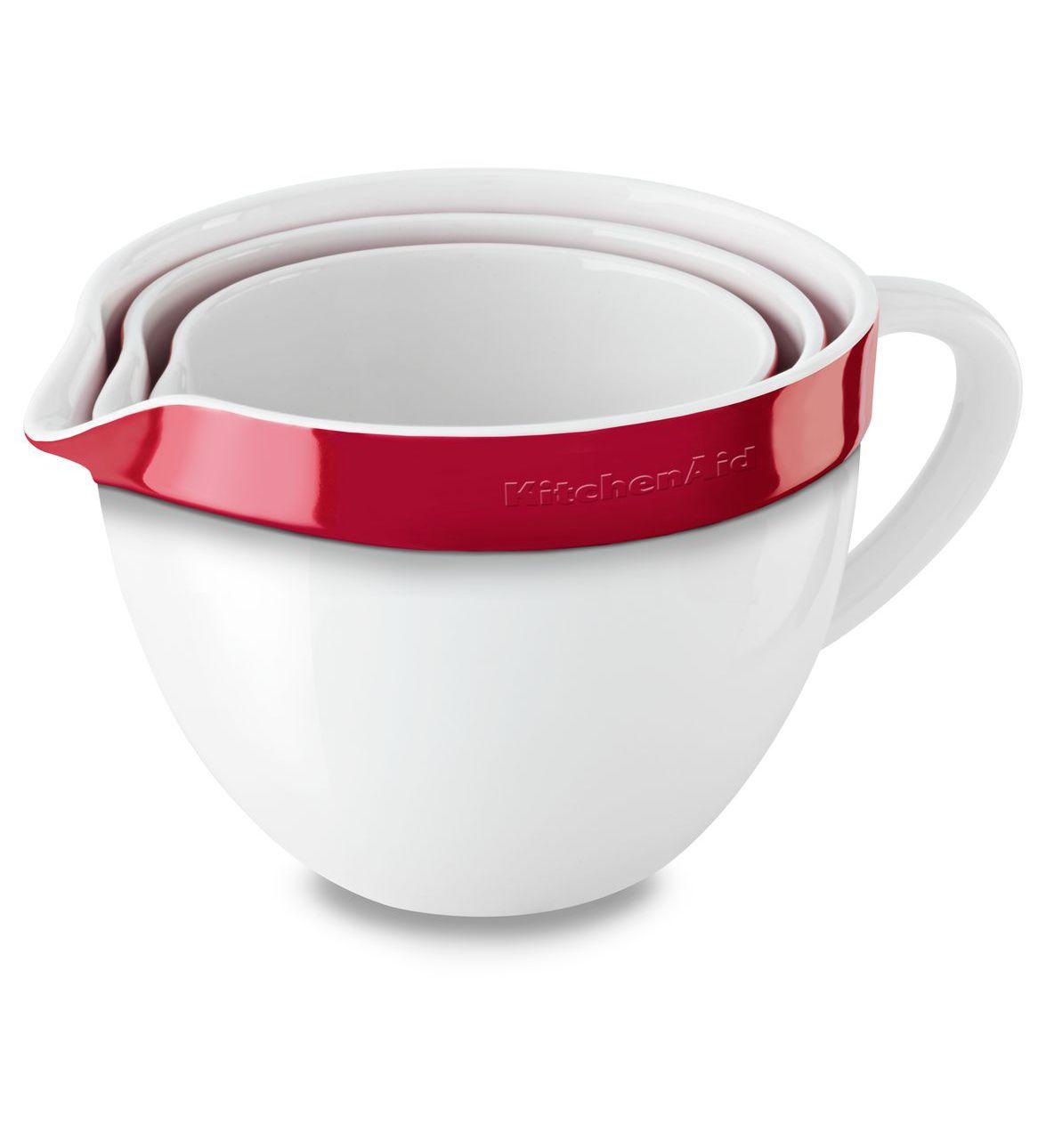 Набор керамических чаш с ручкой для смешивания и запекания KitchenAid Ceramics, красный, 3 штуки KitchenAid KBLR03NBER фото 1