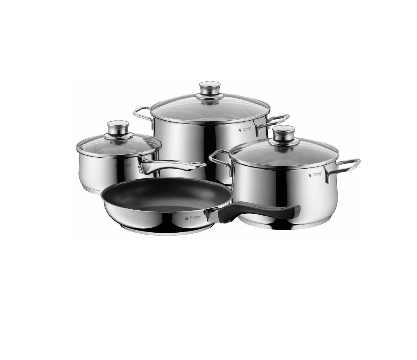 Набор кухонной посуды WMF DIADEM PLUS, кастрюля: 20 см х 3,5 л; 24 см х 6 л; ковш: 16 см х 1,5 л; сковорода 24 см, серебристый, 4 предмета WMF 07 3027 6040 PROMO фото 1