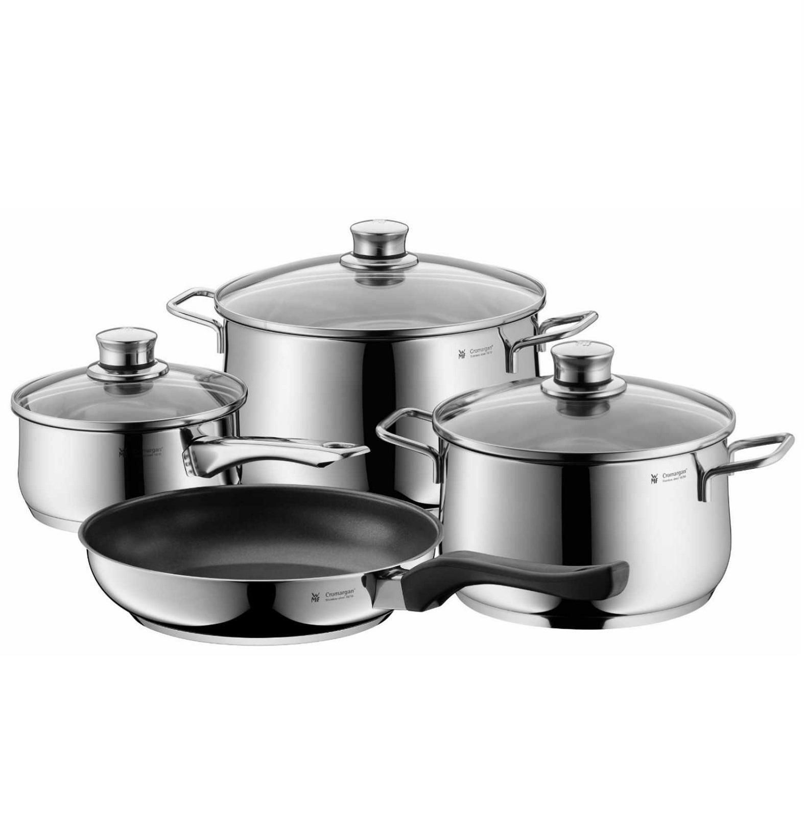 Онлайн каталог PROMENU: Набор кухонной посуды WMF DIADEM PLUS, кастрюля: 20 см х 3,5 л; 24 см х 6 л; ковш: 16 см х 1,5 л; сковорода 24 см, серебристый, 4 предмета WMF 07 3027 6040 PROMO