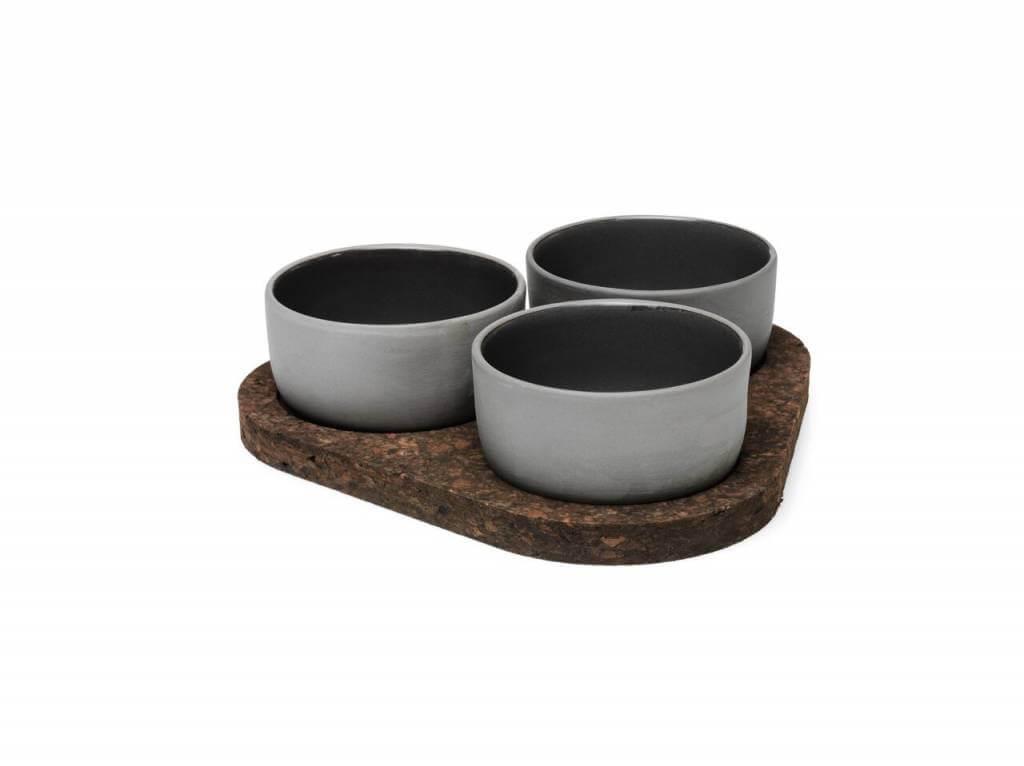 Онлайн каталог PROMENU: Набор пиал керамических с подставкой Aida Raw, диаметр 9,5 см, 3 шт. Aida 15320