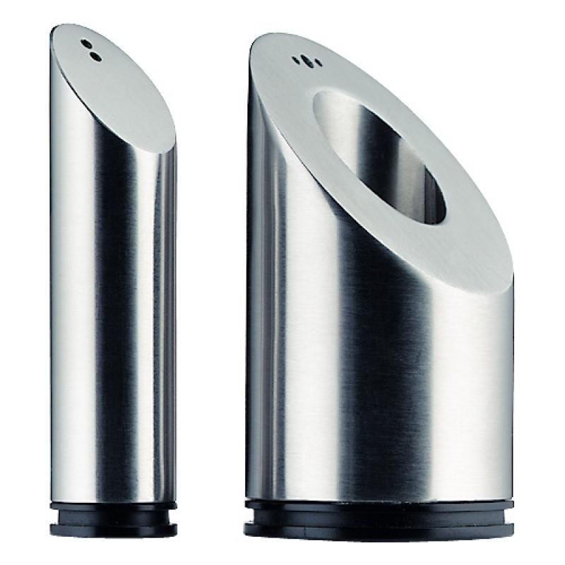 Набор: солонка/перечница WMF BASIC, высота 8,6 см, диаметр 4,5 см, серебристый, 2 предмета WMF 06 6105 6030 фото 0