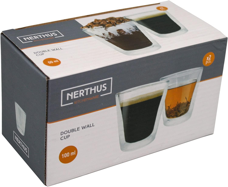 Набор стаканов с двойными стенками Nerthus  DOUBLE WALL CUPSET , 2 шт, объем 0,1 л, прозрачный Nerthus FIH 290 фото 1