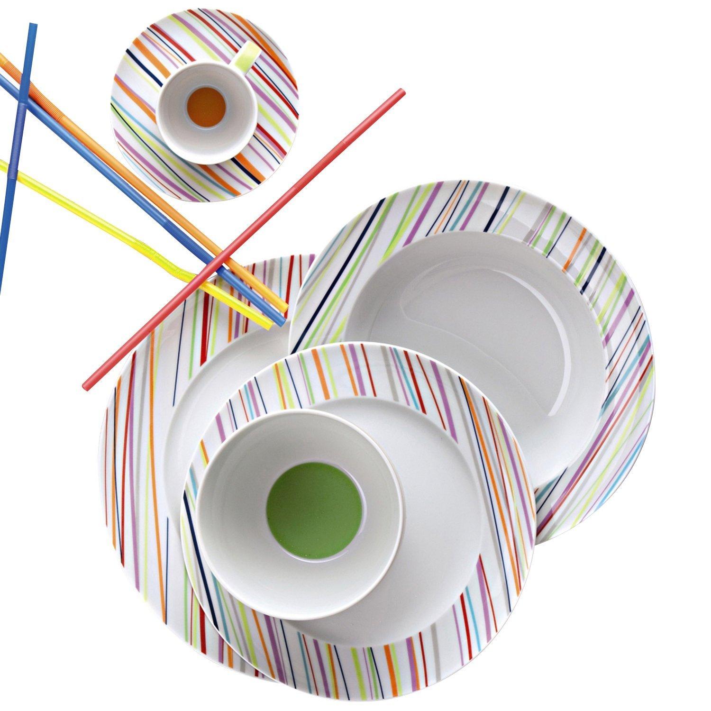Онлайн каталог PROMENU: Набор столовый на 2 персоны Rosenthal SUNNY DAY, белый с цветными полосками, 10 предметов Rosenthal 10850-408715-28010