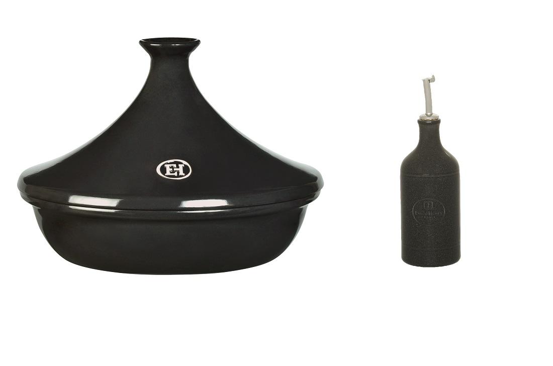 Онлайн каталог PROMENU: Тажин 3 л и бутылка для масла/уксуса Emile Henry LES SECRETS D'EMILE, объем 0,45 л, черный                                   799732