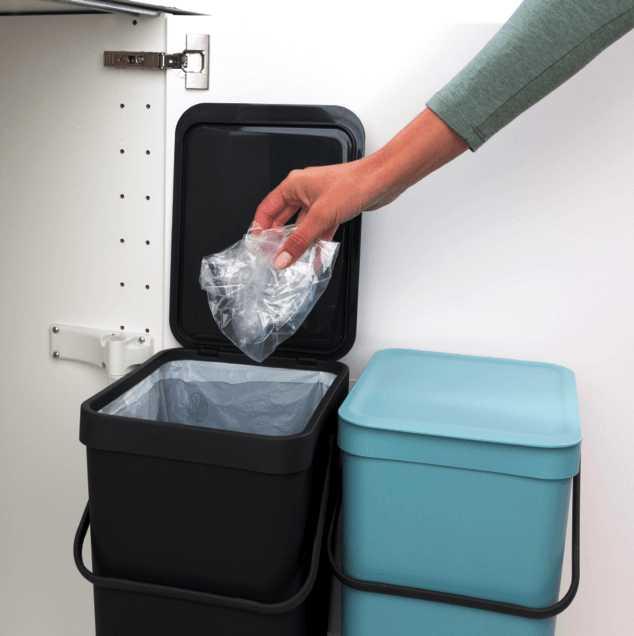Набор: ведро для мусора на подставке Brabantia, объем 12 л, 2 шт. Brabantia 109980 фото 9