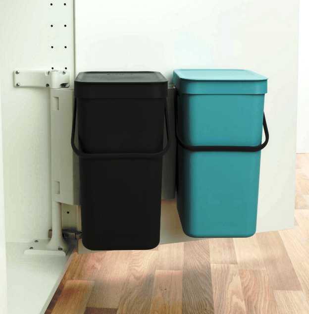 Набор: ведро для мусора на подставке Brabantia, объем 12 л, 2 шт. Brabantia 109980 фото 3