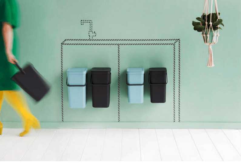 Набор: ведро для мусора на подставке Brabantia, объем 12 л, 2 шт. Brabantia 109980 фото 1
