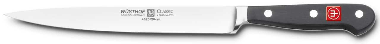 Онлайн каталог PROMENU: Нож для нарезки Wuesthof Classic, длина 20 см, черный Wuesthof 4520/20