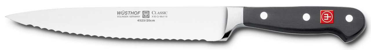 Онлайн каталог PROMENU: Нож для нарезки с зубчатым краем Wuesthof Classic, длина 20 см Wuesthof 4523/20