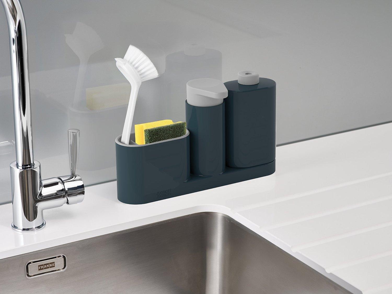 Органайзер для раковины на 3 секции, с дозатором для мыла и бутылочкой Joseph Joseph sinkbase plus,  27х16,5х6 см, серый Joseph Joseph 85091 фото 1