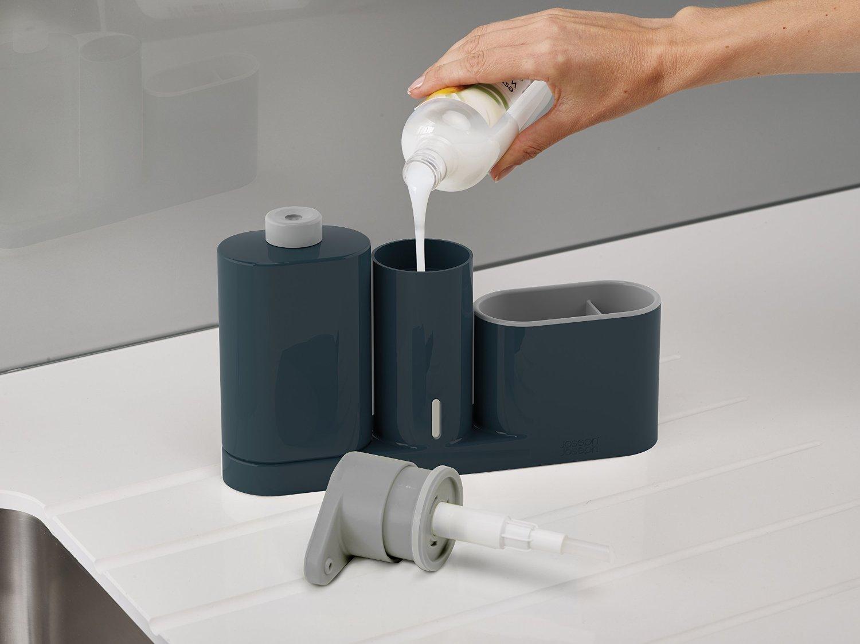 Органайзер для раковины на 3 секции, с дозатором для мыла и бутылочкой Joseph Joseph sinkbase plus,  27х16,5х6 см, серый Joseph Joseph 85091 фото 3