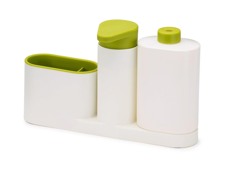 Органайзер для раковины на 3 секции, с дозатором для мыла и бутылочкой Joseph Joseph sinkbase plus,  27х16,5х6 см, зеленый Joseph Joseph 85082 фото 0
